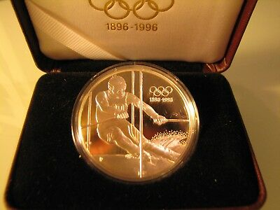 1995 OLYMPIC 200 Schilling Austria SILVER Coin - The Slalom Skier.