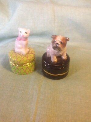 Two Small China/porcelain Trinket /ring Boxes.a Dog And A Cat On The Lids