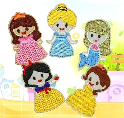 FD4054 Princess Embroidery Cloth Iron On Patch Sewing Motif Applique 1 Set 5PC