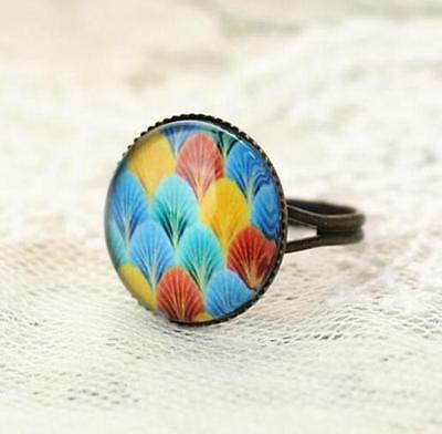 Elegant Feather Ring Vintage Retro Adjustable Bronze Glass Gem Ring Jewelry @