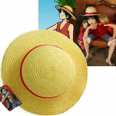 FD3465 One Piece Luffy Anime Cosplay Straw Boater Beach Hat Cap Halloween Gift