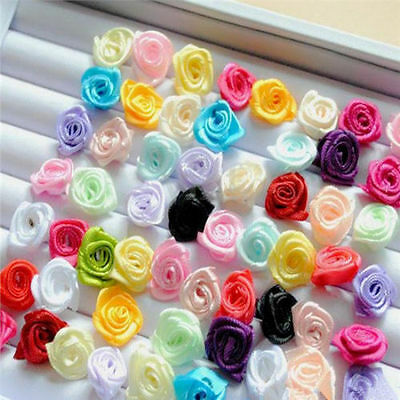 100pcs Small Mini Satin Ribbon Flowers Rose Wedding Decor Sewing Appliques DIY @