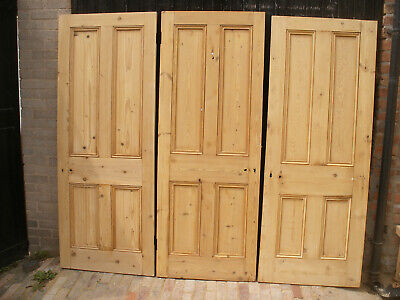 Reclaimed Victorian 4 panel beaded stripped pine doors.  (9 available)