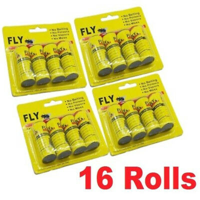 16 Rolls Insect Bug Fly Glue Paper Catcher Trap Ribbon Tape Strip Sticky Flies @