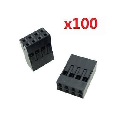 100Pcs 2x4p Dupont Jumper Wire Cable Housing Pin Connector 2.54mm Pitch @