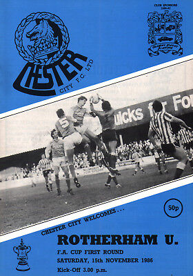 1986/87 Chester City v Rotherham United, FA Cup, PERFECT CONDITION