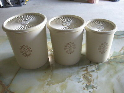 Vintage White Tupperware Cannisters - Set of Three