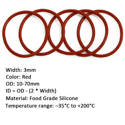 50pcs 3mm Wire Dia  Red FOOD GRADE Silicone Gasket O Ring Seal OD 10-70mm