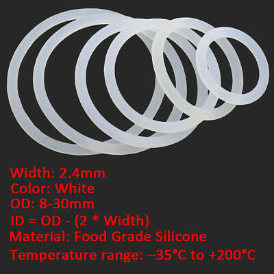 50/100pcs 2.4mm White Food Grade Silicone Gasket HIGH TEMP O-Ring Seal OD 8-30mm