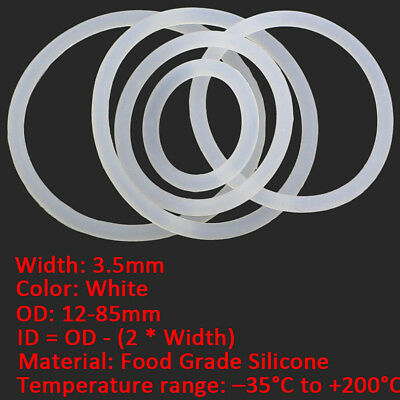 50/100pcs 3.5mm Wire Dia White FOOD GRADE Silicone Gasket O Ring Seal OD 12-85mm