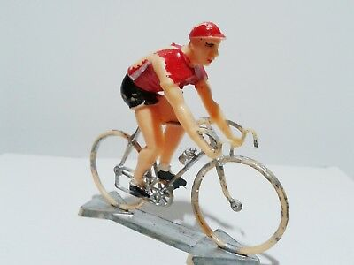 Vintage plastic bicycle with cyclist PLASTIC RARE fair condition scale ca. 1:32