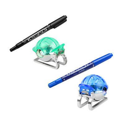 2x Golf Ball Marker Line Drawing Tool 2 Color Pens Template Liner Blue Green