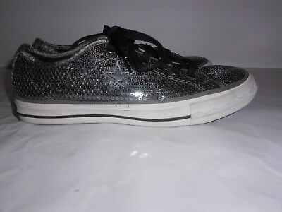 CONVERSE ONE STAR Sz 6 LOW TOP SNEAKERS SHOES SILVER SEQUIN WOMEN'S