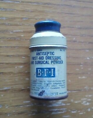 Vintage BFI Antiseptic First-Aid Dressing and Surgical Powder Tin Sharp & Dohme