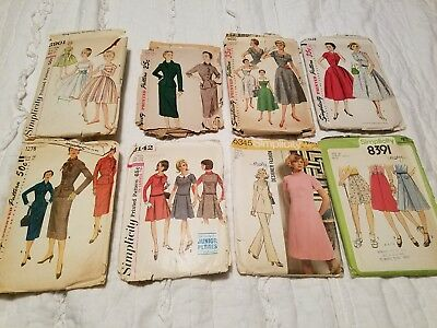 Lot Of 8 Vintage 40s 50s 60s Sewing Patterns Simplicity Womens