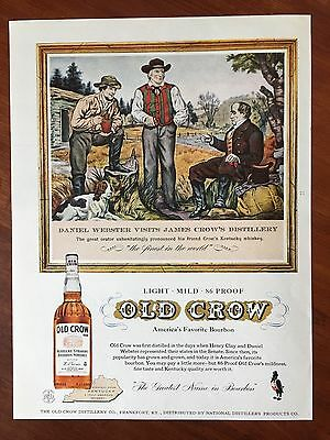 Vintage 1958 Original Print Ad OLD CROW Kentucky Bourbon Whisky ~Daniel Webster~