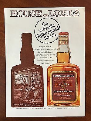 Vintage 1958 Original Color Print Ad HOUSE of LORDS Light Natured Scotch Whisky