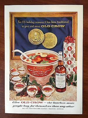 Vintage 1961 Original Print Ad OLD CROW BOURBON WHISKEY ~125 Holiday Seasons~