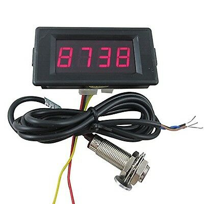 DIGITEN DC 12V 4 Digital Red LED Counter Meter Up Down+Hall Proximity Switch ...