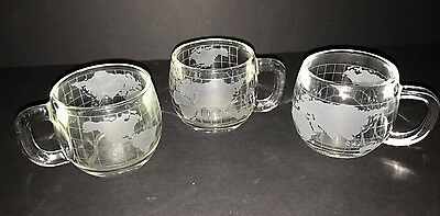 Set of 3 Nestle Nescafe Etched Frosted Heavy Glass World Map Globe Mugs