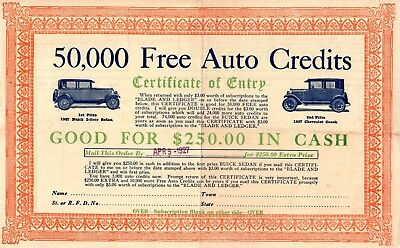 50,000 Free Auto Credits 1927 Certificate Good For $250 in cash towards autos