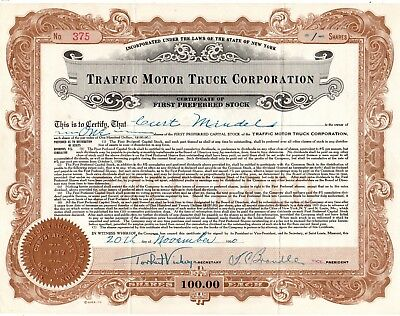 The Traffic Motor Truck Corporation of New York 1920 Stock Certificate