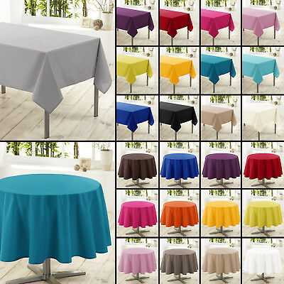 Essentiel Plain Polyester Easycare Dining Tablecloth - Round or Rectangle