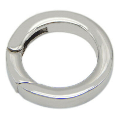 Stainless Steel Silver Spring Gate Ring Round Snap Open Hook Key Carabiner 20mm