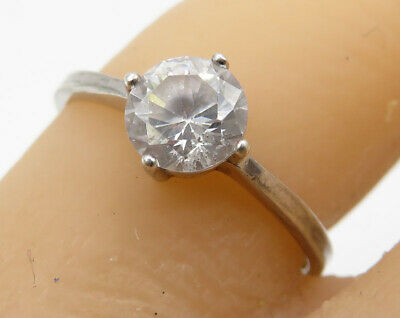 925 Silver -  Vintage Round Cut Faceted White Topaz Solitaire Ring Sz 7 - R2364