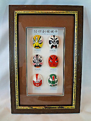 Types of Facial Make-up in Chinese Opera Faux Wood Frame Wall Picture