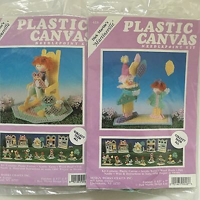 2 Design Works Martinsville Village Plastic Canvas Kits Kids Balloons Easter New