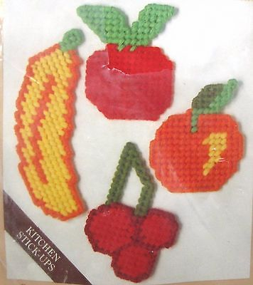 Fruit Kitchen Magnet Plastic Canvas Kit Set of 4 Banana Orange Cherries Caron
