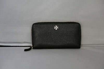 Authentic Tory Burch Black Pebbled Soft Leather Continental Zipper Wallet