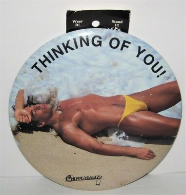 """1988 Vintage Chippendales Male Review 6 Inch """"Thinking Of You """" Botton / Easel"""