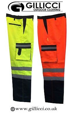 Hi  Vis Visibility Polycotton Two 2 Tone Orange/yellow/navy Combat Work Trousers