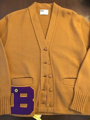 VINTAGE 50's 60's VARSITY LETTERMAN LETTER CARDIGAN SWEATER HIGH SCHOOL