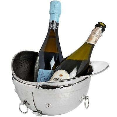 Free standing Polished Nickel Metal Riding Hat Champagne Wine Cooler Ice Bucket