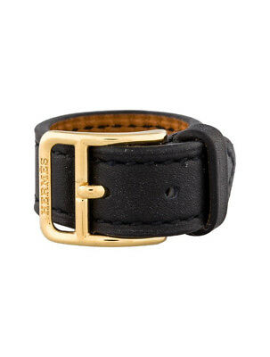 Authentic Hermès Hermes Etriviere Black Leather Mini Belt Scarf Ring