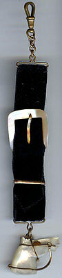 Antique Velvet & Carved Mother Of Pearl Horse Head And Buckle Watch Fob