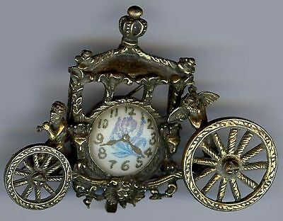 Large Dimensional Ornate Vintage Cast Brass Fauns & Clock Carriage Pin Brooch