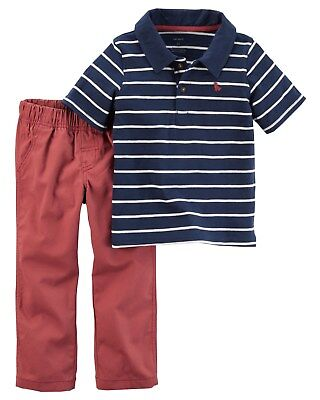 New Carter's Boys Navy White Stripe Polo Top & Rust Pants Set NWT 2T 3T 4T 5T