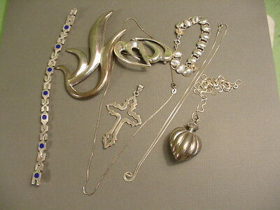 Vintage Lot Of Sterling Silver Jewelry~Some Taxco~Brooches & Bracelets~Necklaces