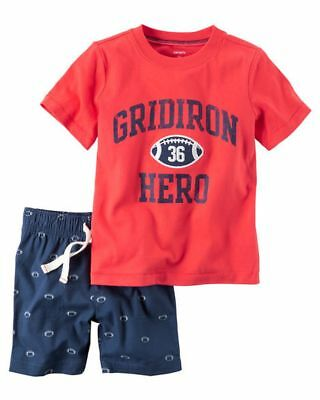 New Carter's Boys Gridiron Football Hero Red Shirt & Blue Shorts Set NWT 3T 4T