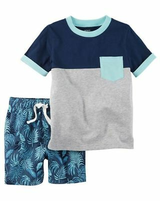 New Carter's Boys Color Block Top & Palm Print Shorts Set NWT 3T 4T 5T Outfit