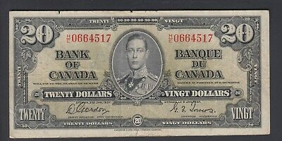 1937  $20 Dollars - Gordon Towers - Prefix H/E - Bank of Canada - F178