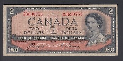 1954 $2 Dollars Devil's Face - Coyne Towers - Prefix A/B - Bank of Canada - F179