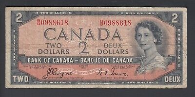 1954 $2 Dollars Devil's Face - Coyne Towers - Prefix B/B - Bank of Canada - F182