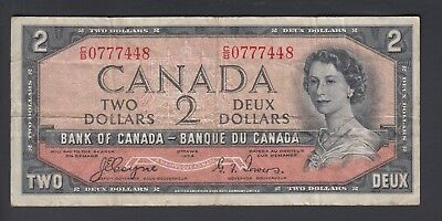 1954 $2 Dollars Devil's Face - Coyne Towers - Prefix C/B - Bank of Canada - F187