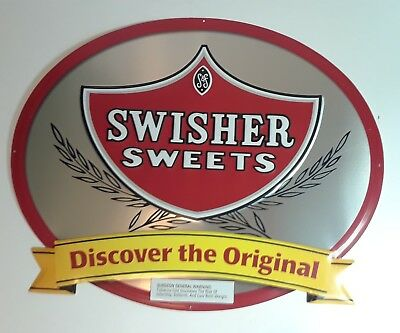 Rare Vintage Swisher Sweet Cigar Sign Metal Oval Swisher Sweet Advertisment Sign
