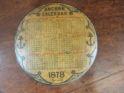 Rare Antique Clark & Co Anchor 3 Spool Cotton Thread Box Holder 1878 Calendar